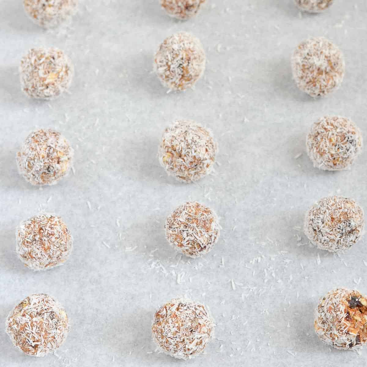 close up of caramel protein bliss balls.