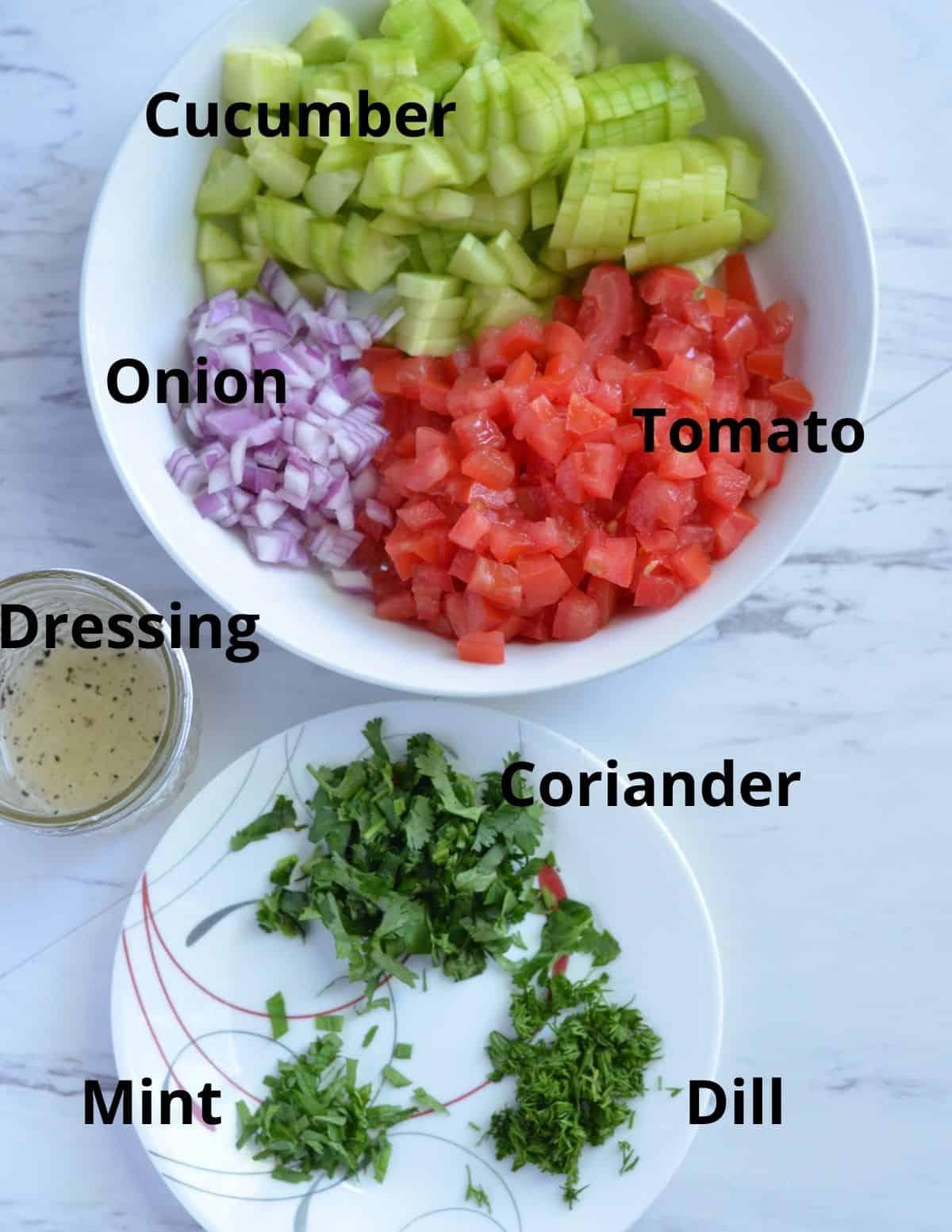 Ingredients of salad-e shirazi
