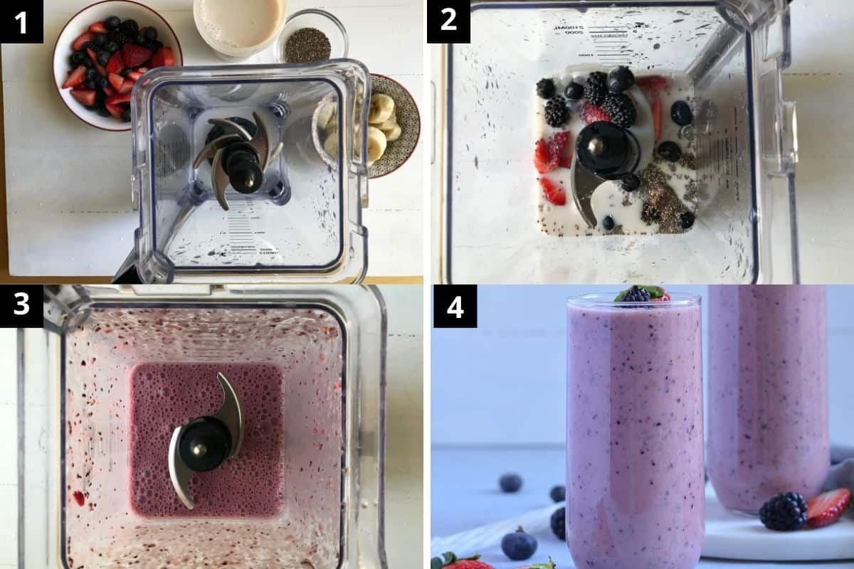 making mixed berry smoothie with almond milk step by step