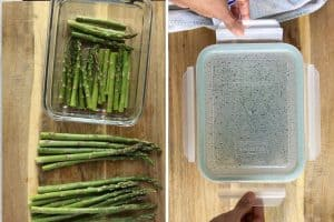 placing asparagus in microwavable container, cooked for 3 min and opening the lid