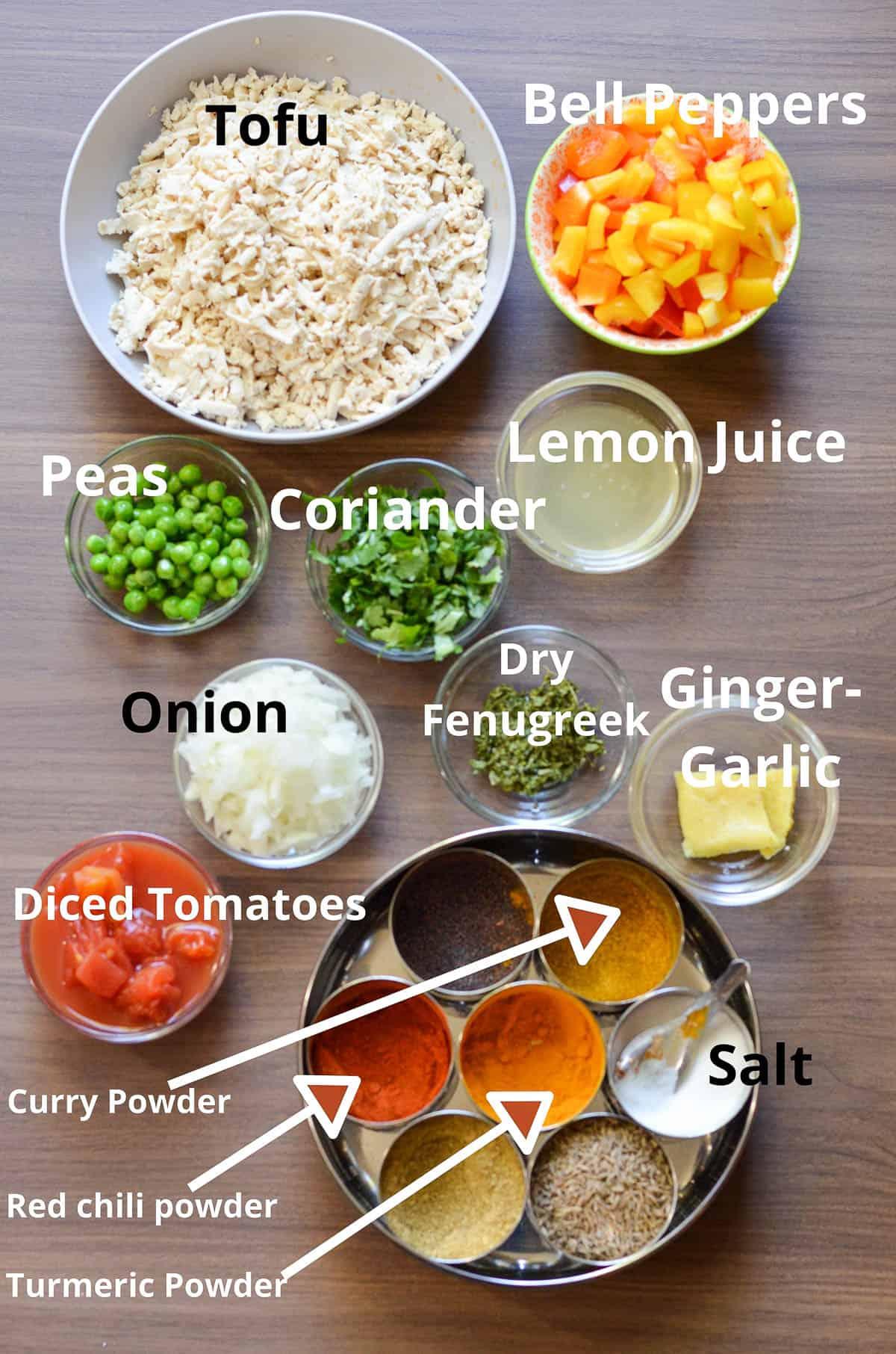ingredients list to make breakfast tofu scramble