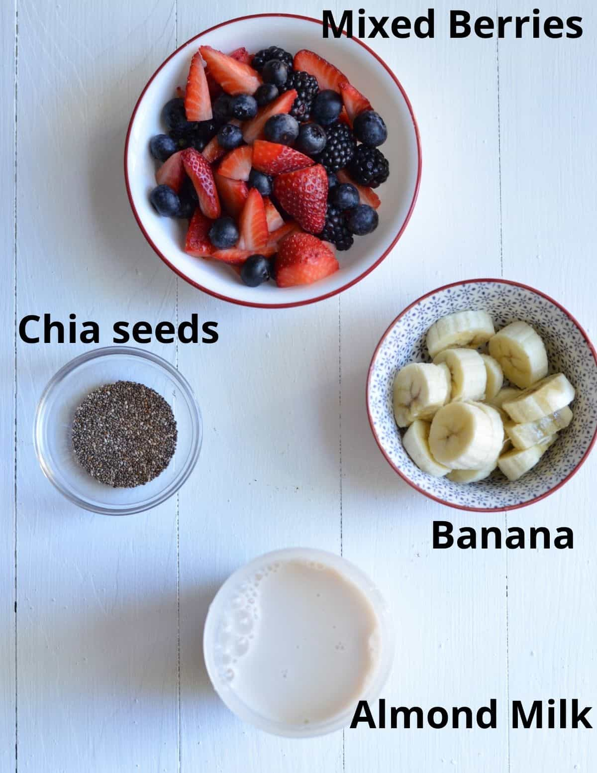 ingredients listed to make mixed berry smoothie