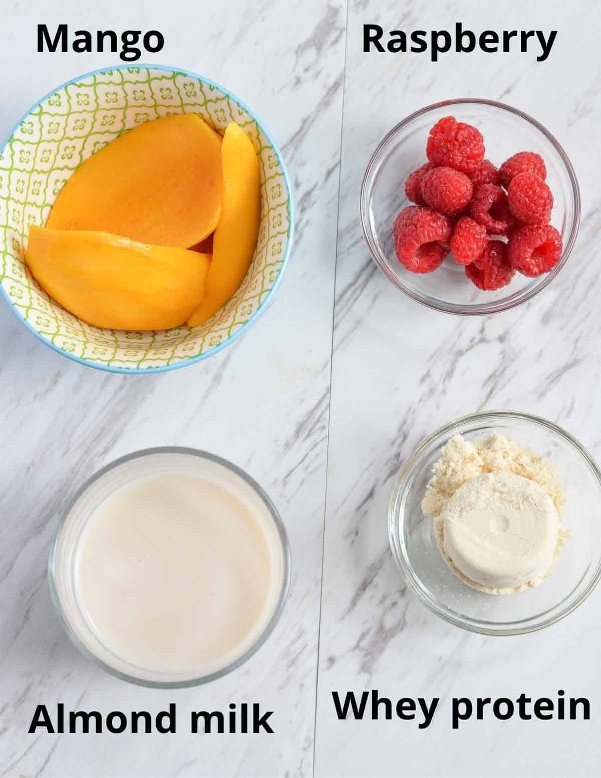 Ingredients listed to make raspberry mango smoothie