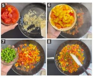 diced tomatoes, cut bell peppers, peas are added in cooked onion.