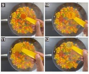 Adding spices like red chili powder, turmeric powder, curry powder & coriander powder