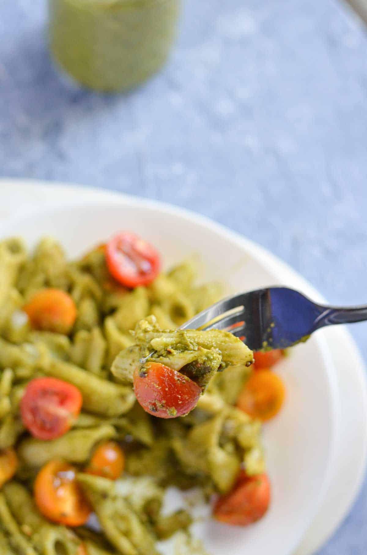 make pasta with the poblano pesto