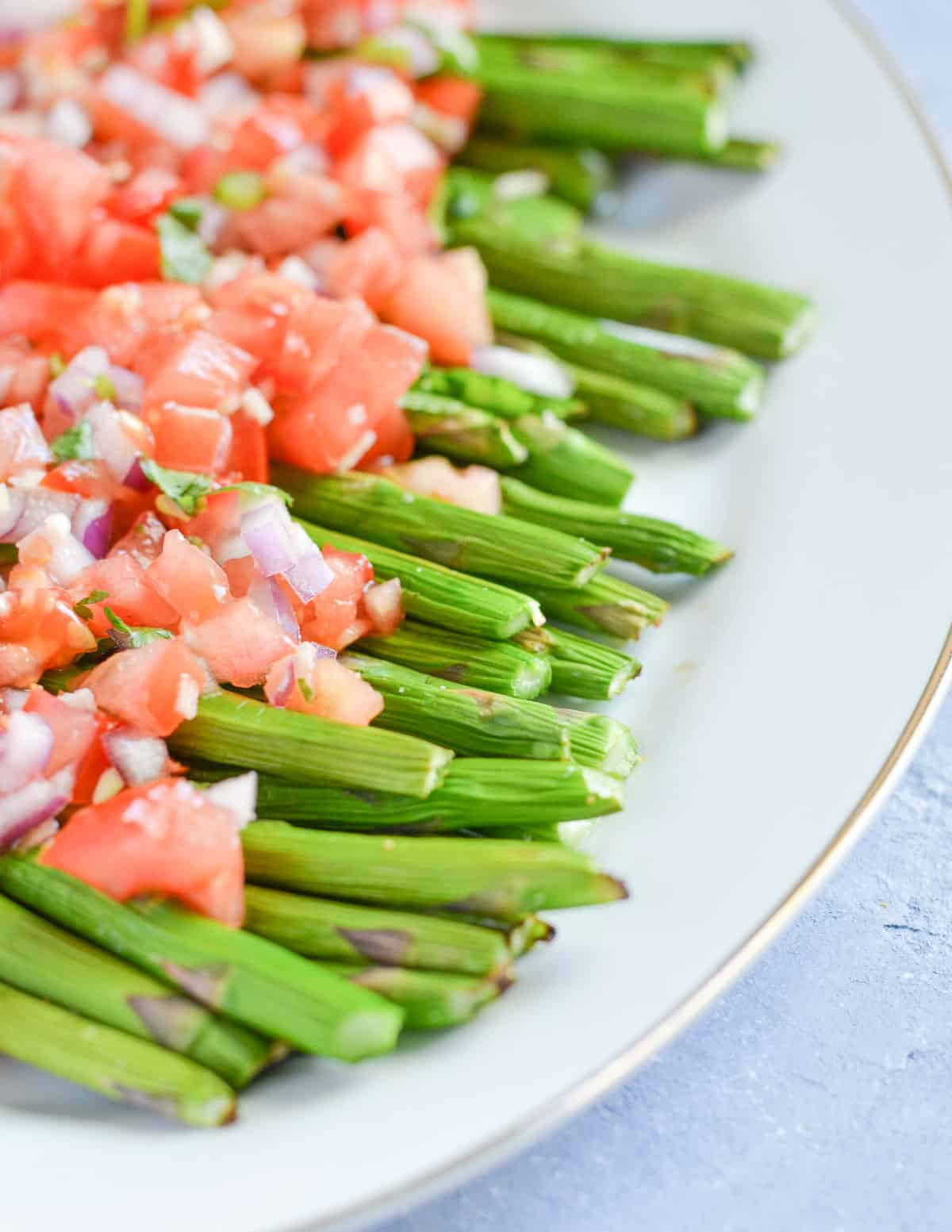 side click of air fryer roasted asparagus