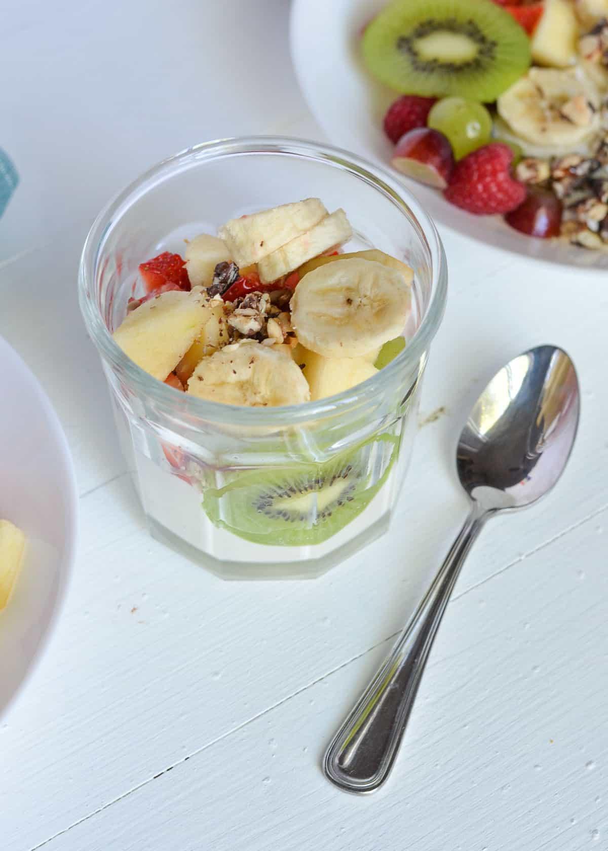 Greek yogurt salad shown in a jar for meal planning.