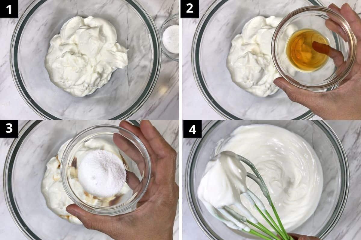 whisk yogurt with sweetener & monk fruit