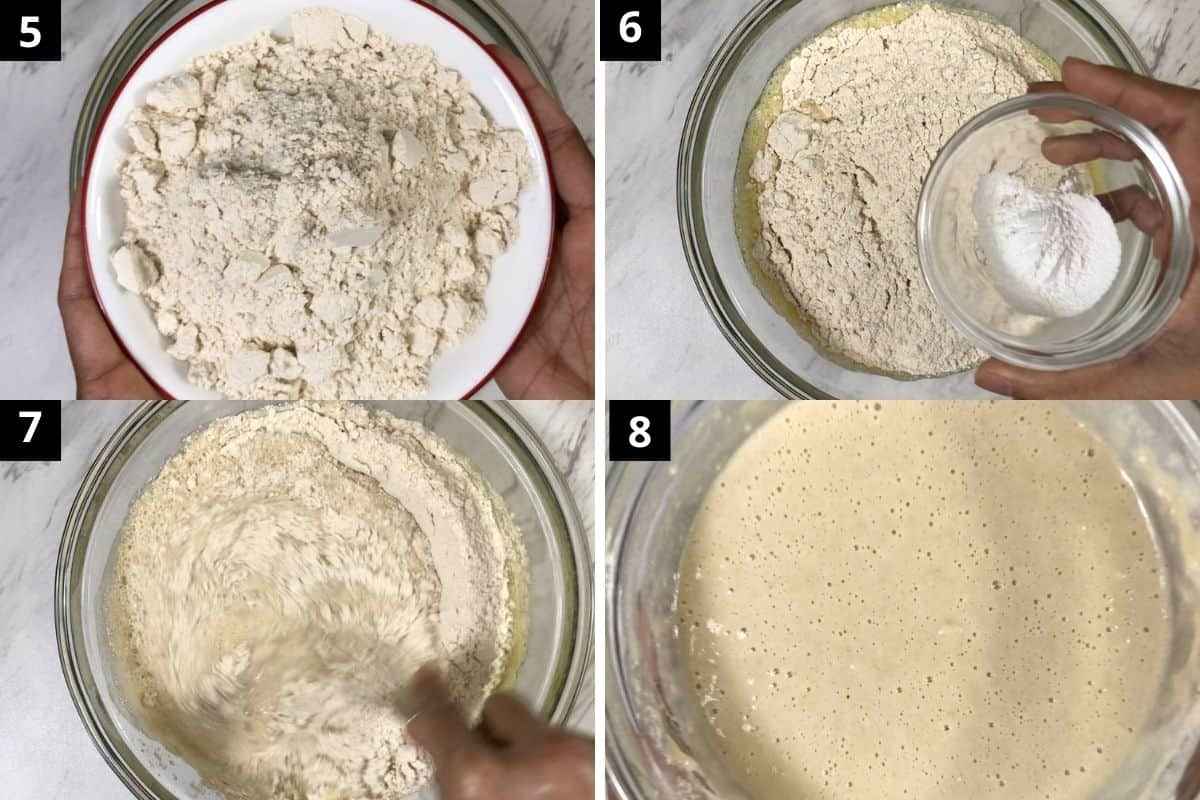 second step is to mix wheat flour and baking powder in the egg white mixture.