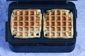 Cooked waffles in the waffle maker