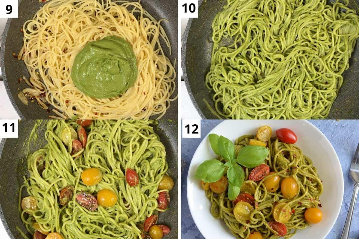 adding pesto and mixing.