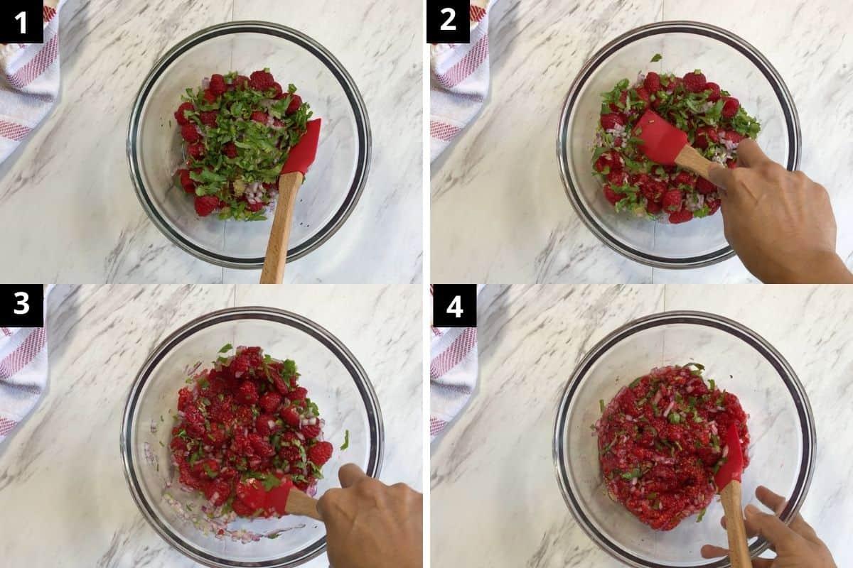 process shots how to make raspberry salsa dip