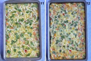 in left pic, top it with shredded cheese and right pic, bake for 20 minutes.