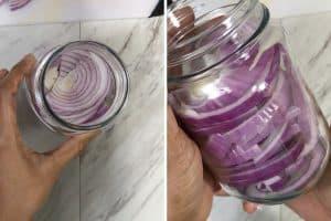 transferring sliced onions in a pint jar