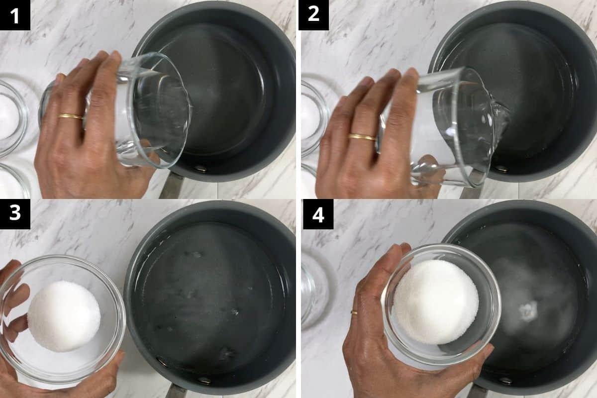 add vinegar, salt, water and monk fruit in a sauce pan