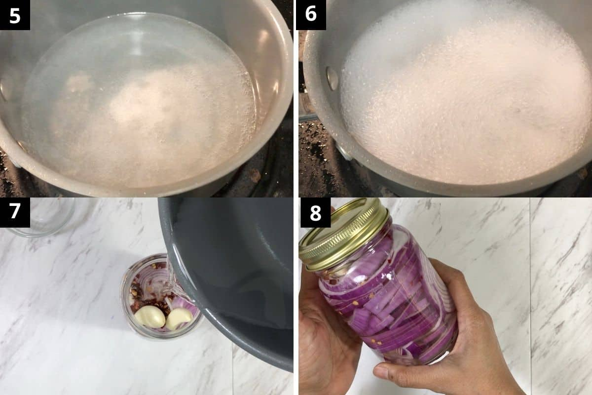 brine is boiled and ready to transfer in onions filled jar