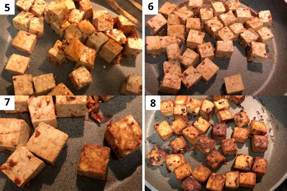 roasting marinated tofu till they golden brown.