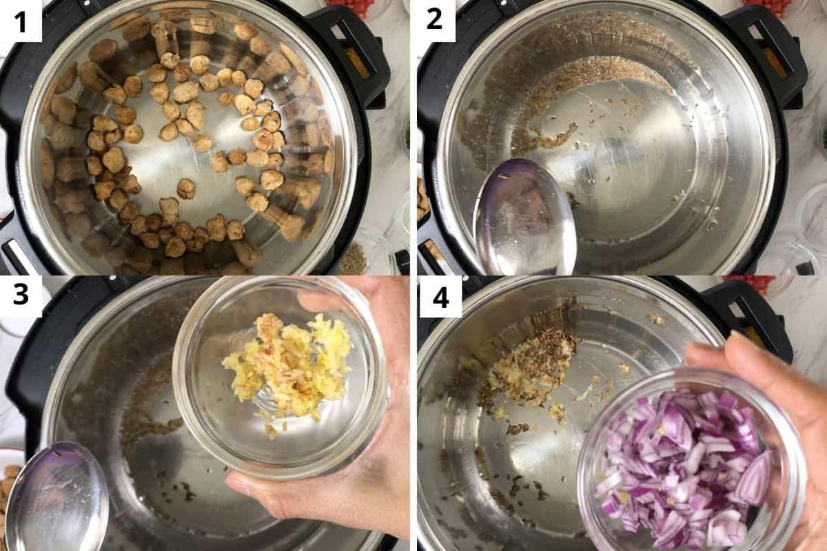 roasting veggie chunks and preparing for gravy.