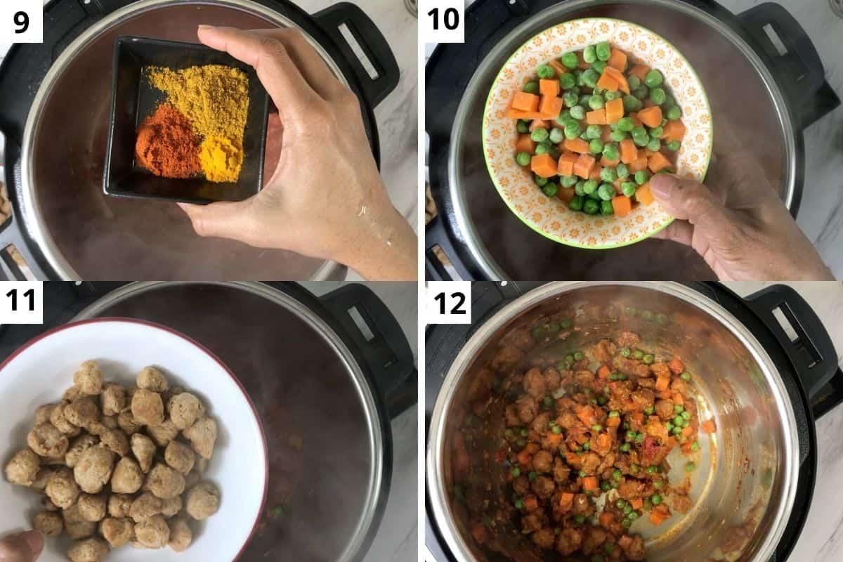 adding spices, mix veg, & chunks. Mix well.