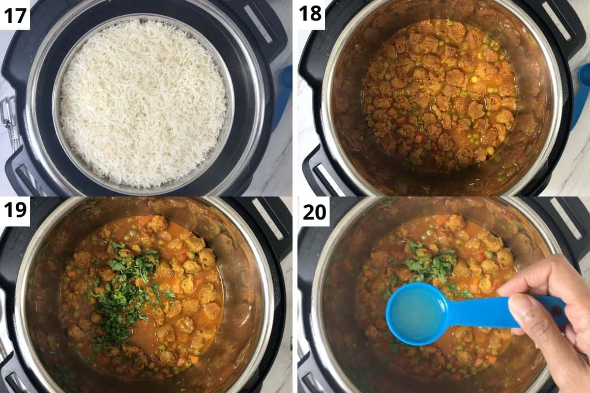 open the lid, transfer the rice pot over the counter and garnish with lemon juice & cilantro.