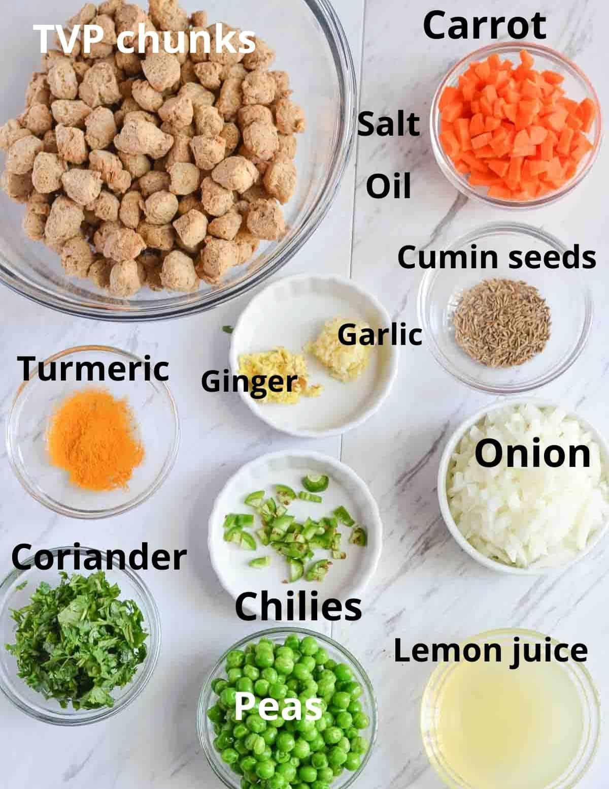 ingredients list to make textured vegetable protein breakfast scramble.
