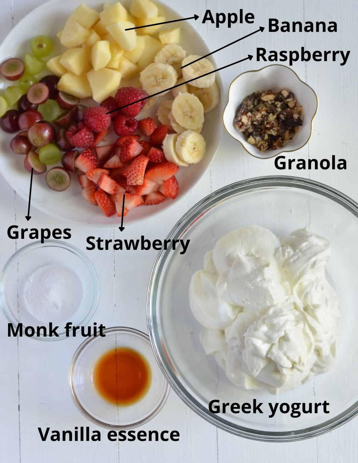 ingredients to make fruit salad with yogurt