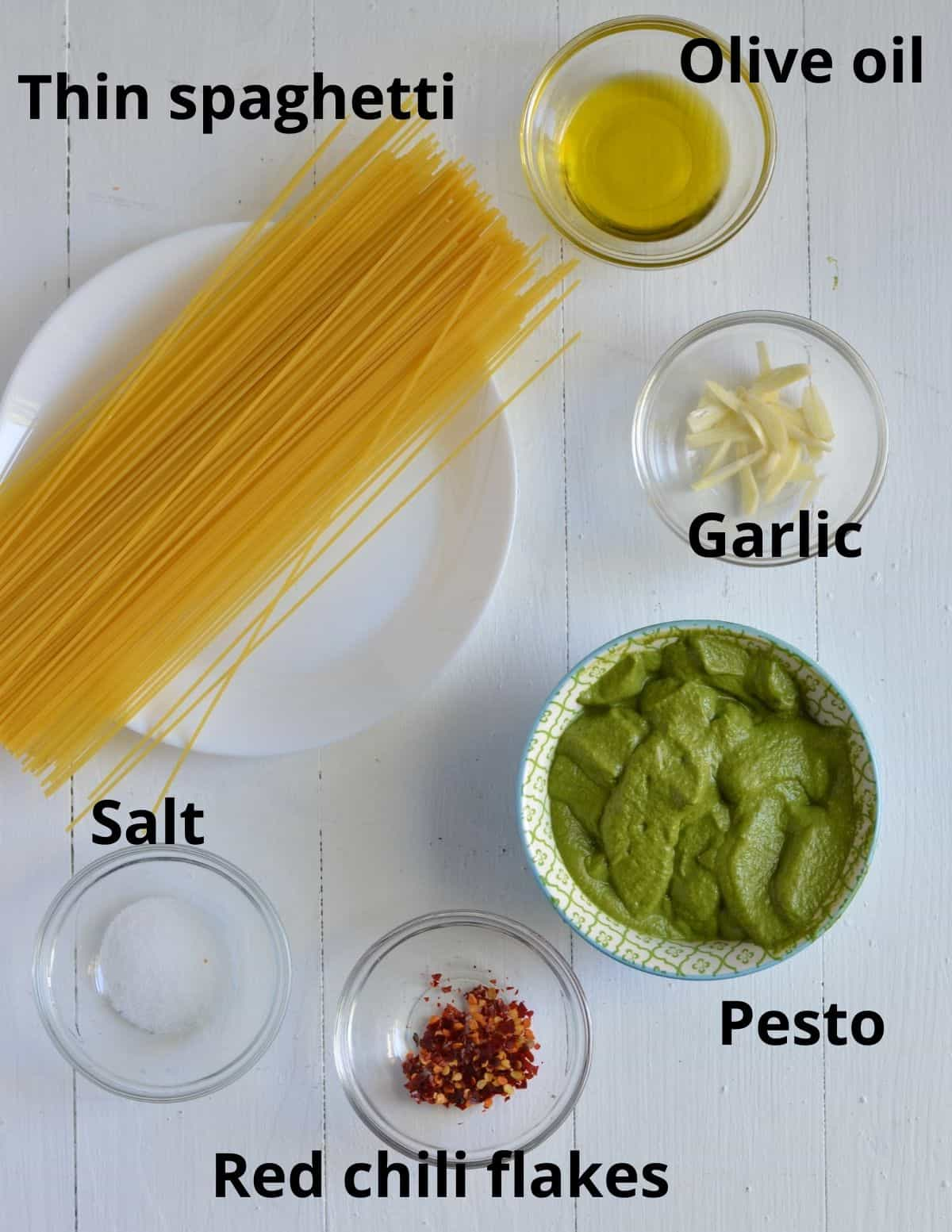 ingredients required to make pesto pasta