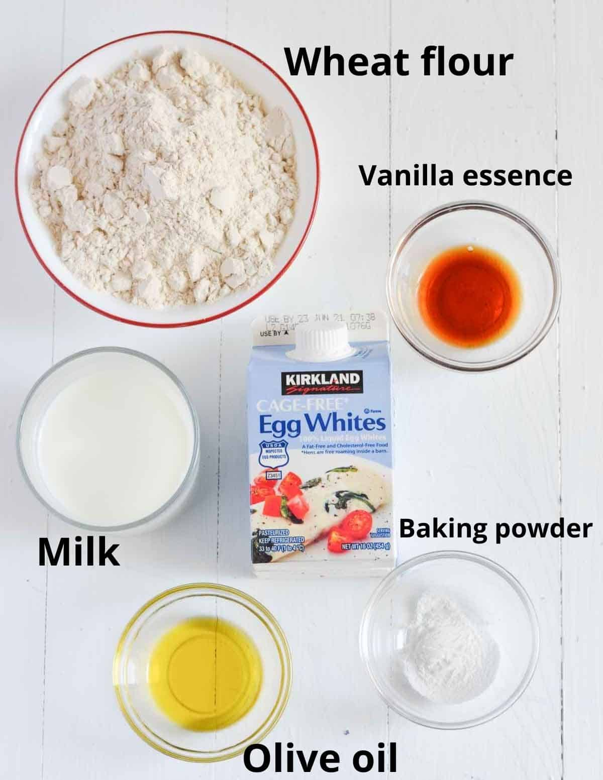 ingredients list to make whole wheat waffles with egg whites