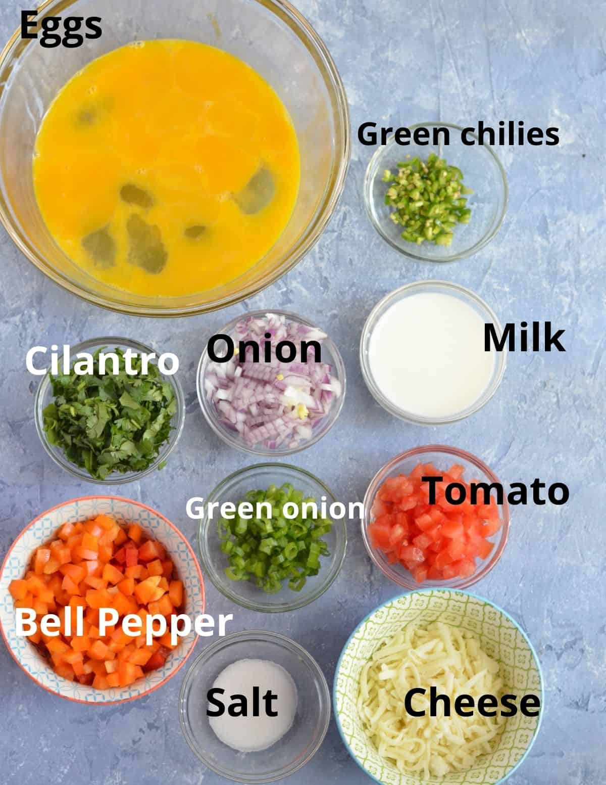 ingredients to make oven baked eggs for a crowd.