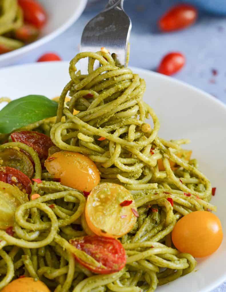 pasta swirled around the fork.