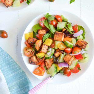 overhead click of panzanella salad