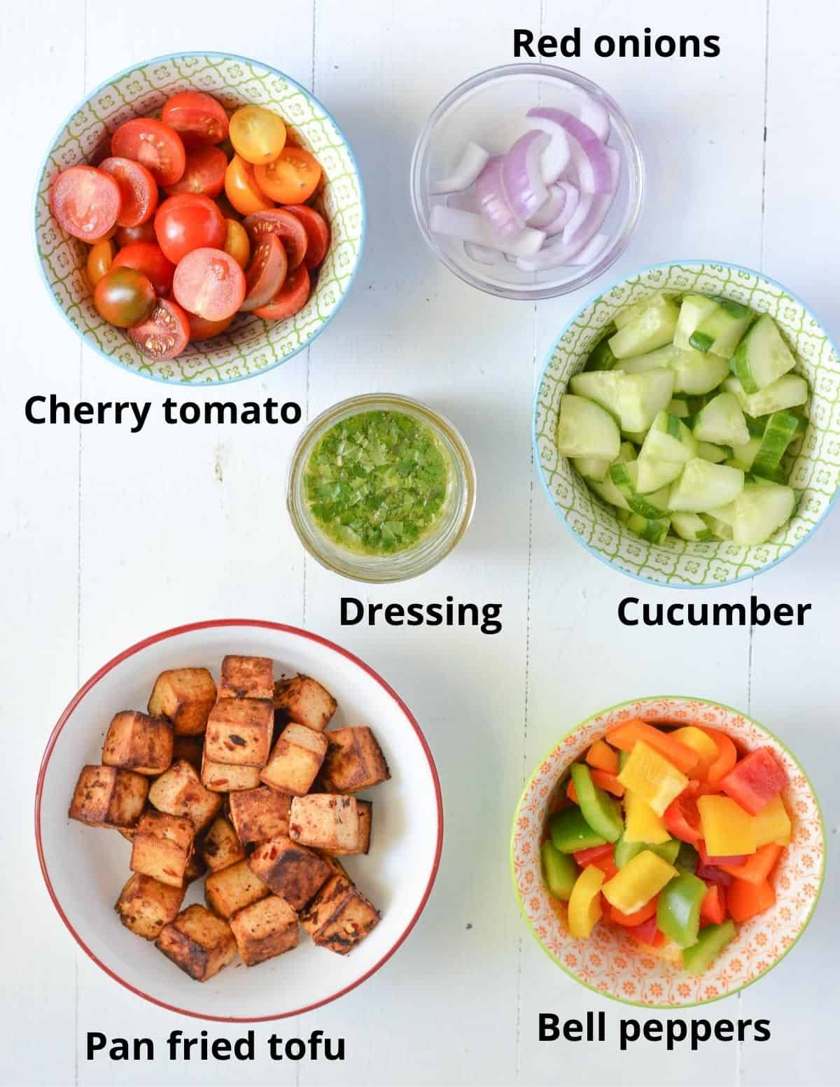 ingredients listed to make summer Panzanella salad.