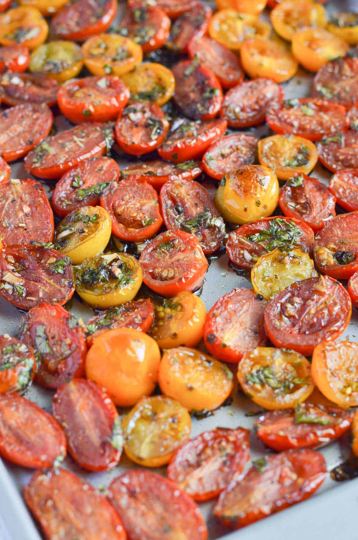 a close up of balsamic roasted cherry tomatoes