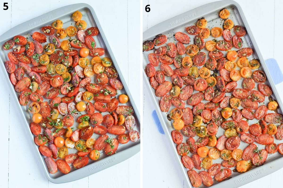 before & after over roasted tomatoes