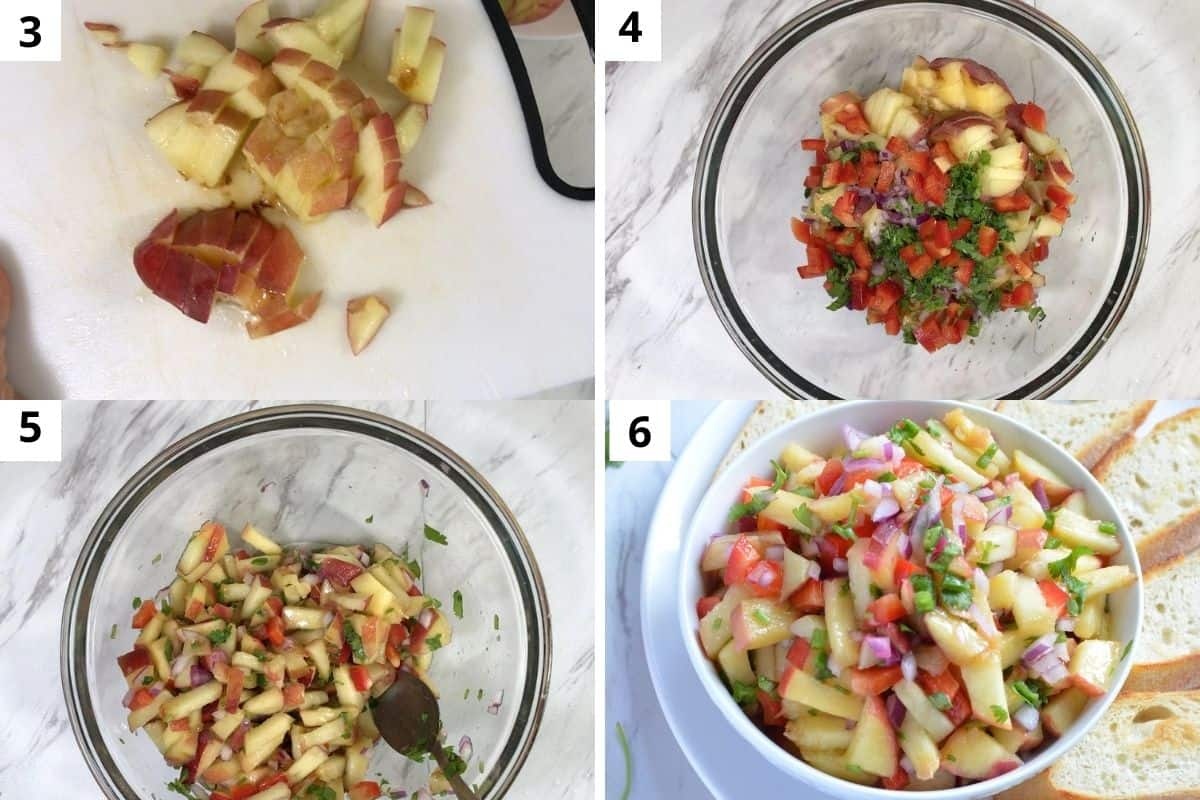 cut the grilled peaches and mix with other ingredients
