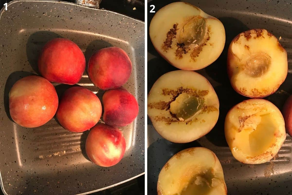 Cut the peach in half, remove the pit and place them upside down the flesh on grilling pan.