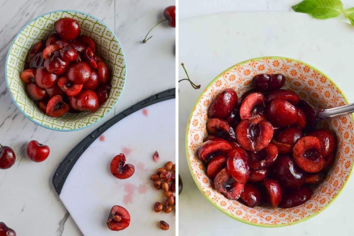 preparing cherries by removing seeds & soaking them in sweetener