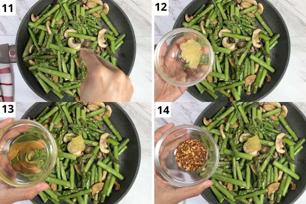 seasoned veggies with salt, garlic, oil & red chili flakes.