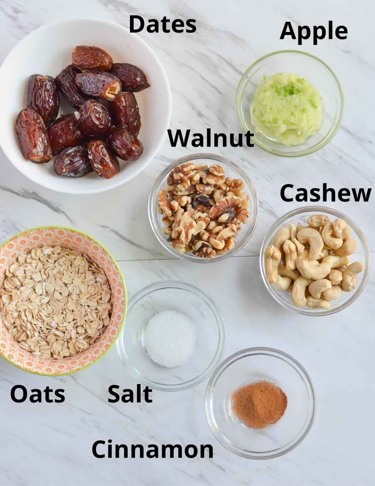 dates, shredded fresh apple, walnuts, cashews, rolled oats, salt, and cinnamon shown in the pic.