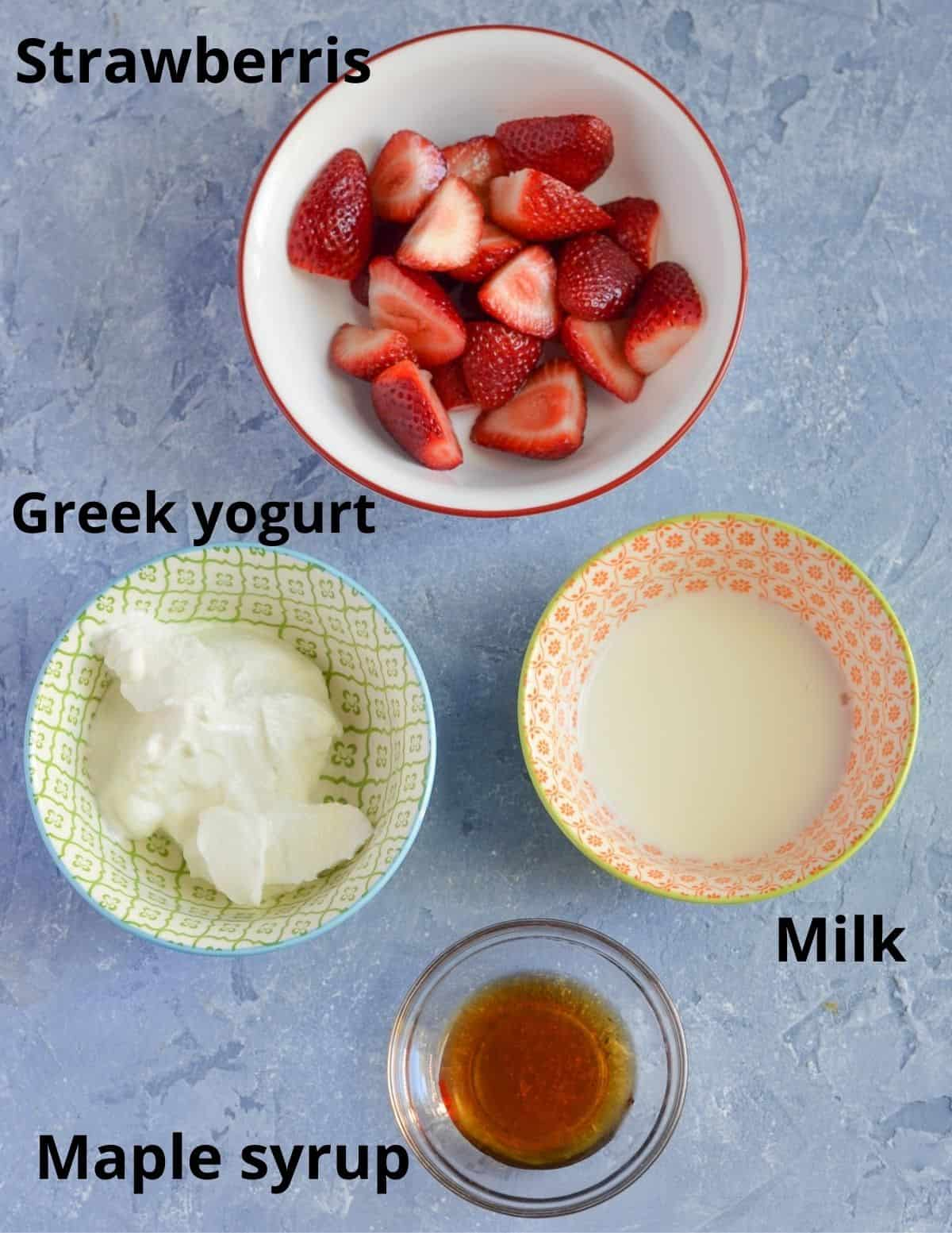 Ingredients listed to make nutritious strawberry lassi