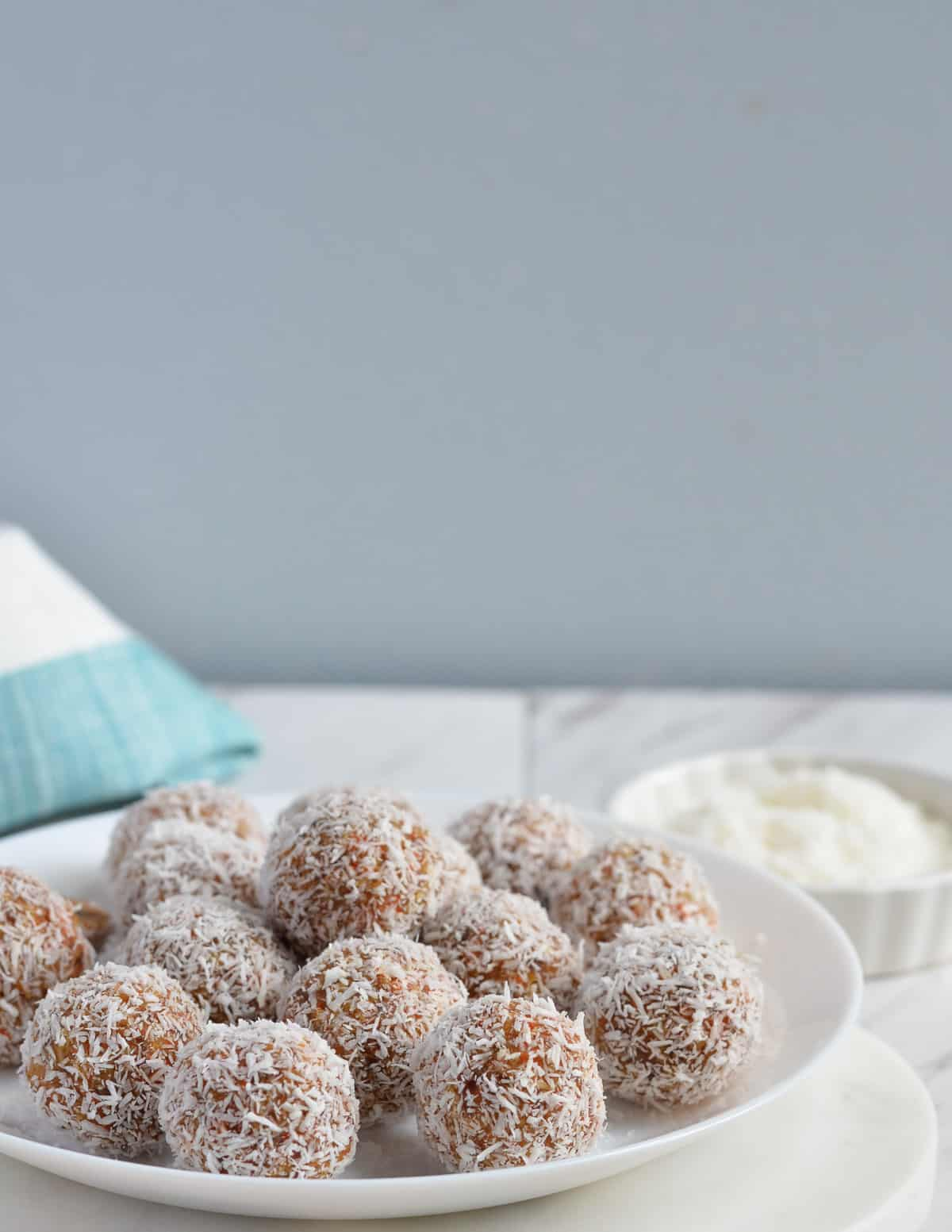 a side view of carrot cake bliss balls