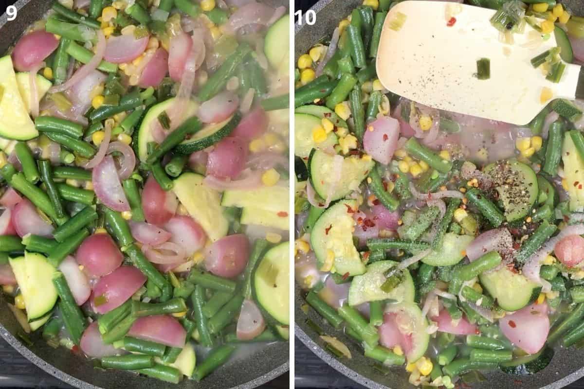 cooking vegetables until soft. Adjust salt n pepper.
