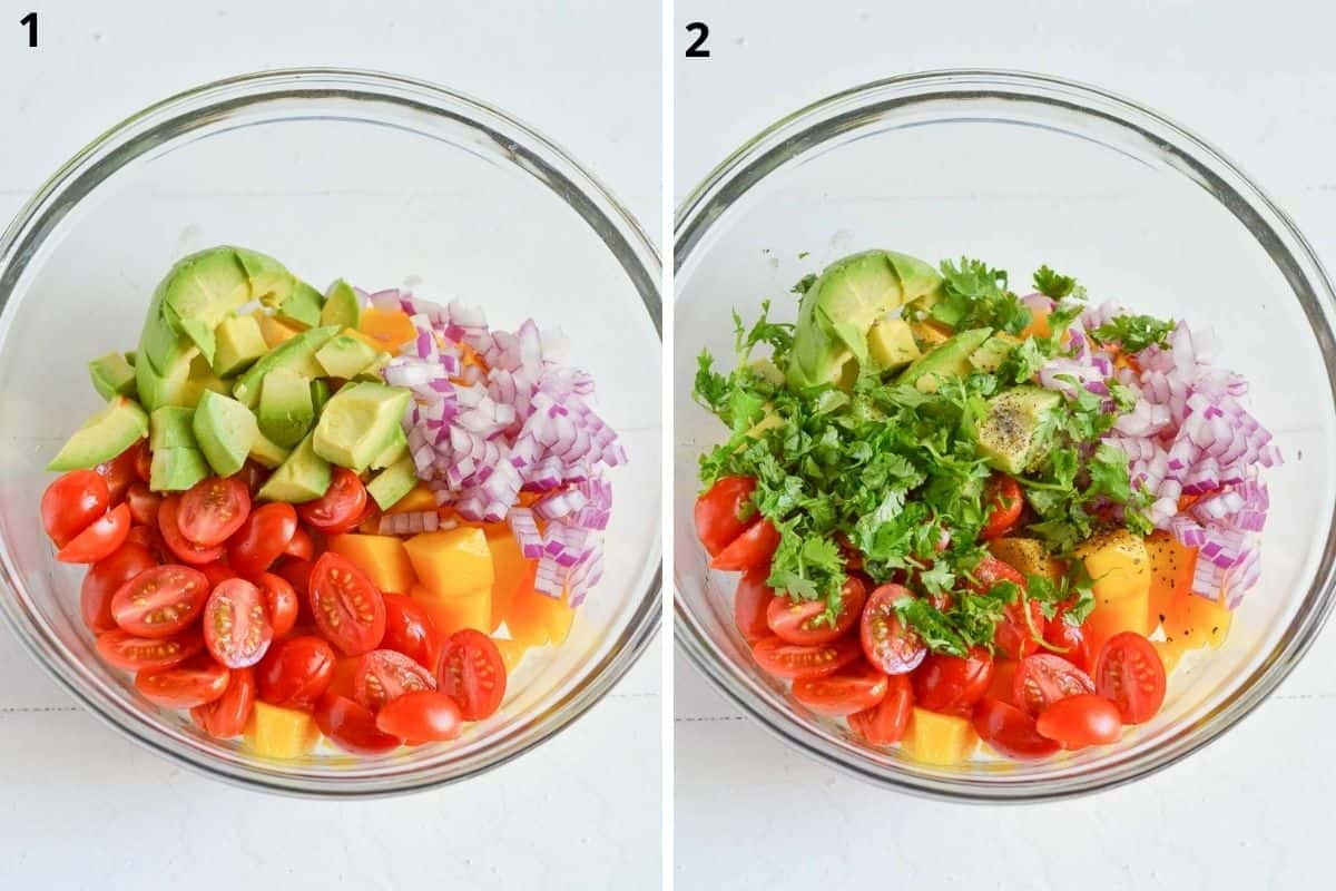Chop all ingredients and tranfer in a mixing bowl. Add seasoning.