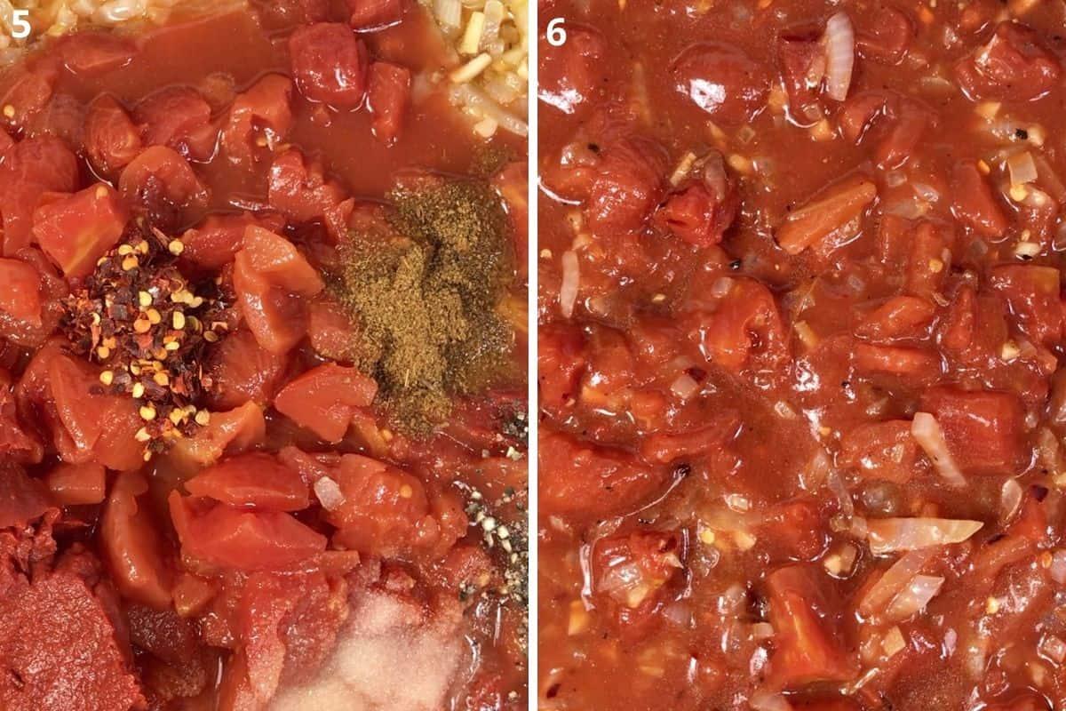 pic 5 added tomatoes, tomato paste, chili flakes, cumin powder, black pepper & salt. pic 6 mix n cook.
