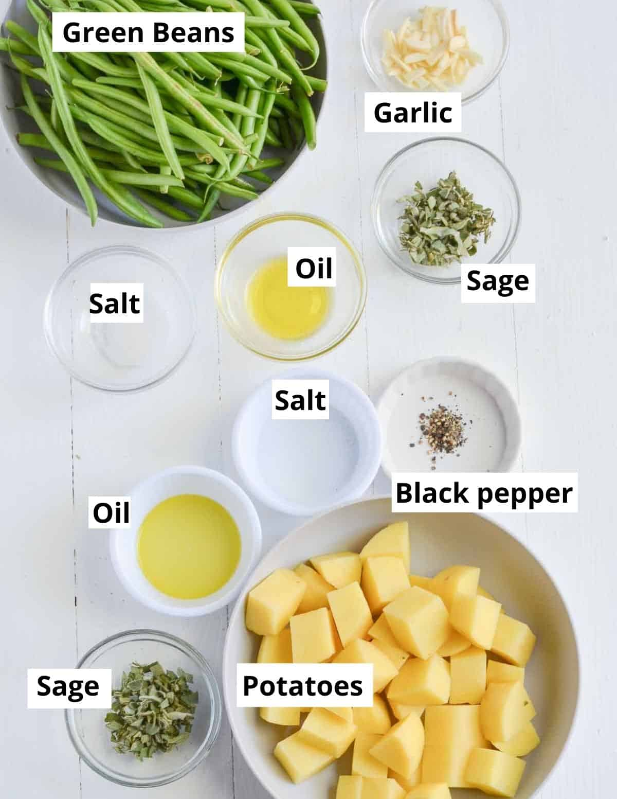 ingredients listed to make potatoes with green beans