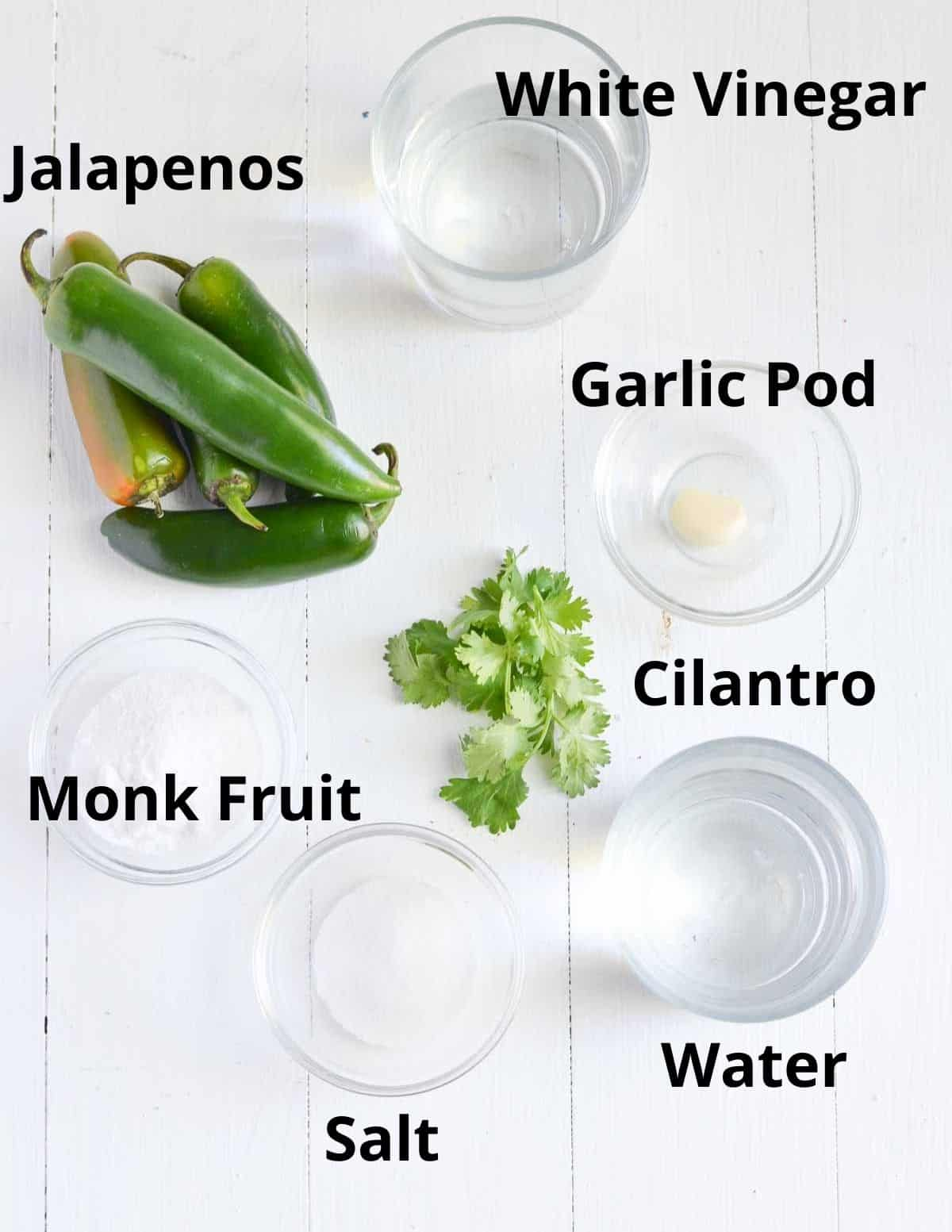Ingredients list to make jalapeno pickle