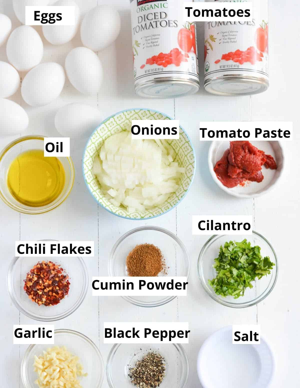 all the ingredients listed to make shakshuka