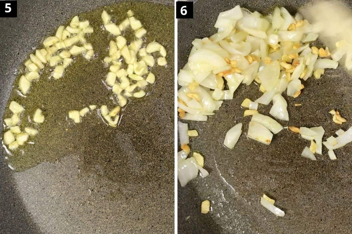 pic 5 shows garlic cooking in oil, pic 6 shows onions are added and cooking together.